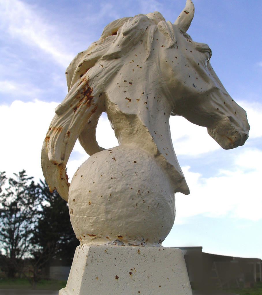 For Sale Large Cast Iron Horse Head Sculpture Must See