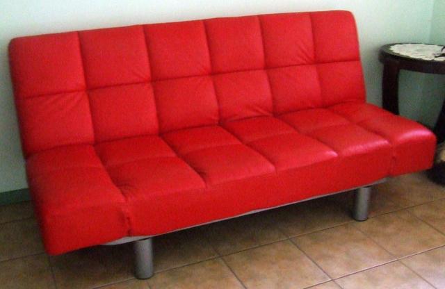 For Sale Red Leather Klick Klack Fold Down Sofa Bed